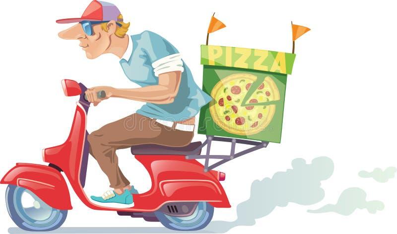 Pizzaleverans vektor illustrationer