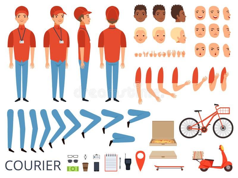 Pizzaleveransanimering Snabbmatkurirkroppsdelar med yrkesmässiga objekt boxas satsen för skapelsen för cykelvektorteckenet stock illustrationer