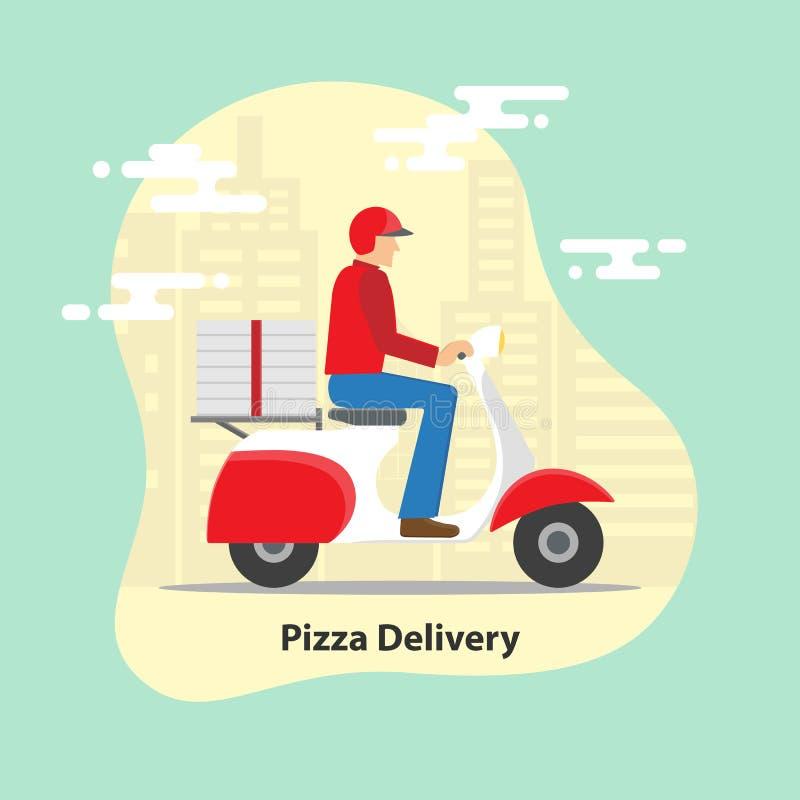 Pizzaleveransbegrepp Leveranssparkcykelmotorcykel med pizzaaskar på stadsbakgrund vektor illustrationer