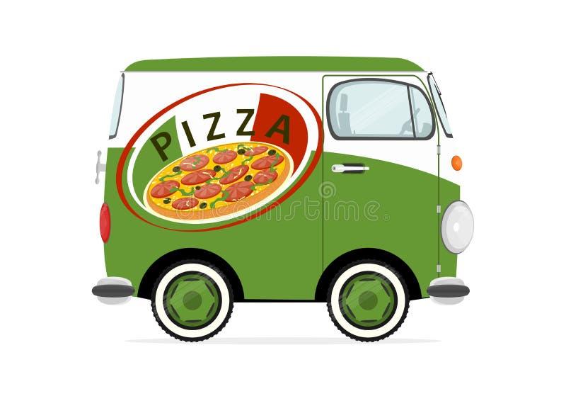 Pizzaleveransbil royaltyfri illustrationer