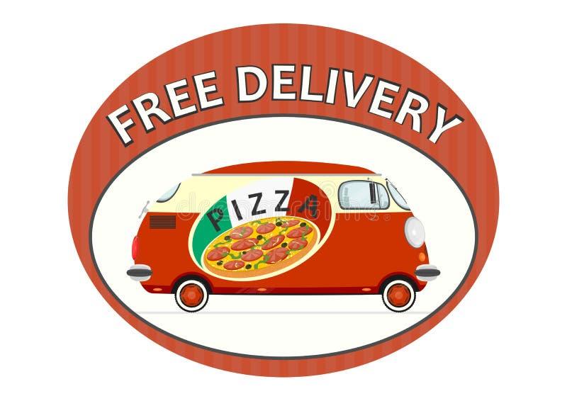 Pizzaleveransklistermärke vektor illustrationer