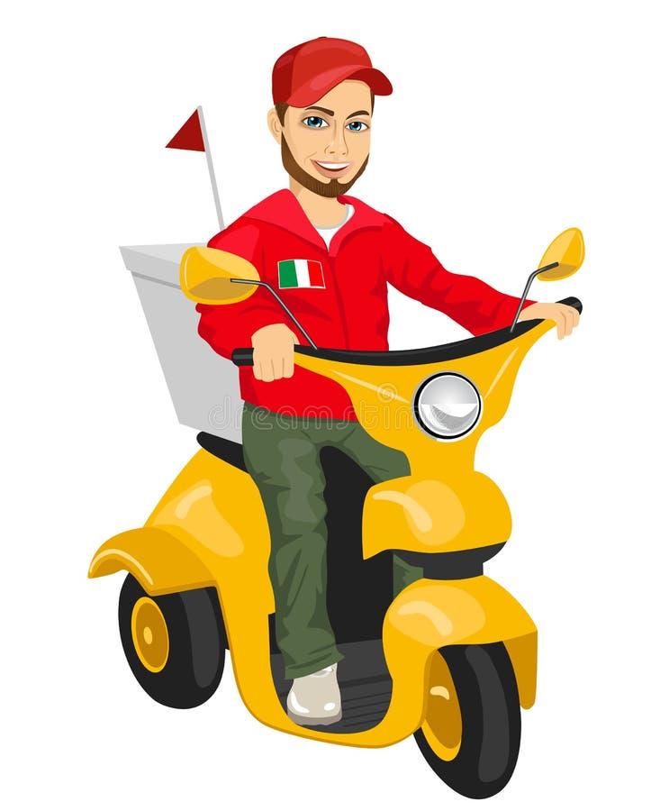 Pizzaleveransman som kör den gula sparkcykeln stock illustrationer