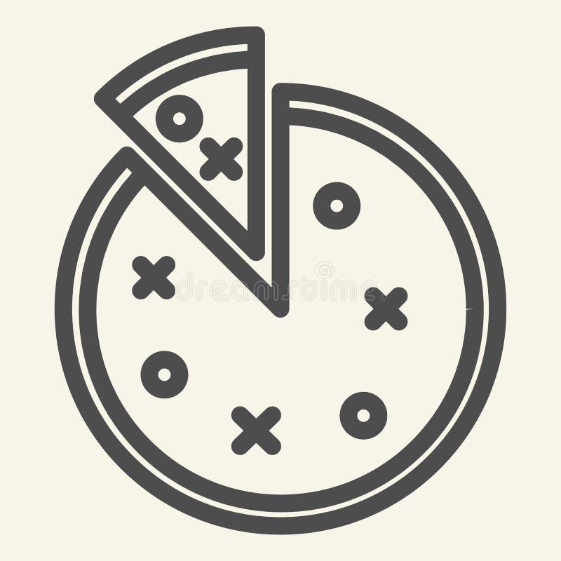 Pizzalinje symbol Rund pizzavektorillustration som isoleras på vit Design för snabbmatöversiktsstil som planläggs för rengöringsd royaltyfri illustrationer