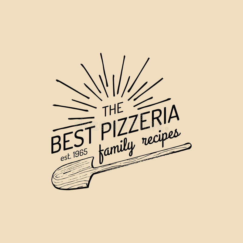 Pizzalogo Emblem för vektorfamiljpizzeria, symbol Etikett för mat för tappninghipster italiensk vektor illustrationer