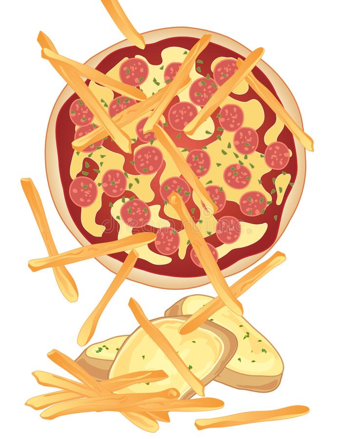 Pizzamål vektor illustrationer