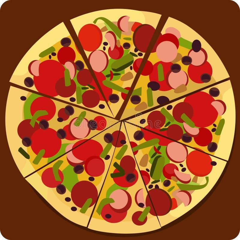 Pizzamålet royaltyfri illustrationer