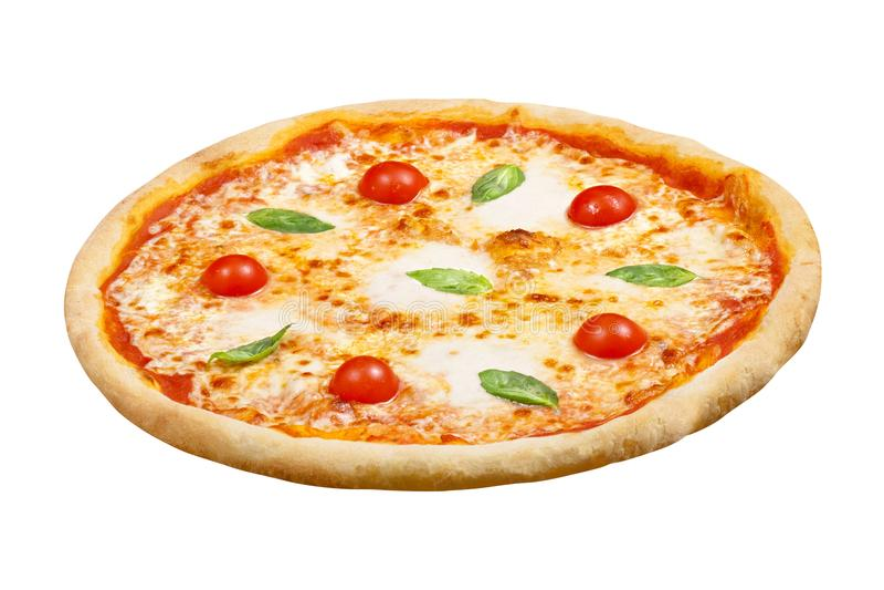 Pizzamargaritan med mozzarellaost, basilika och tomaten, mallen för din design och menyrestaurang, isolerade vit bakgrund arkivfoton