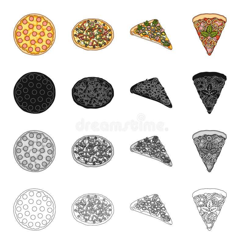 Pizzamat, fester och annan rengöringsduksymbol i tecknad filmstil Kafé mat, matställe, symboler i uppsättningsamling royaltyfri illustrationer