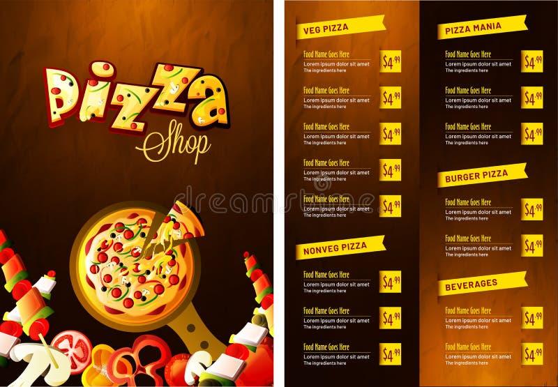Pizzamatmeny för restaurang och kafé royaltyfri illustrationer