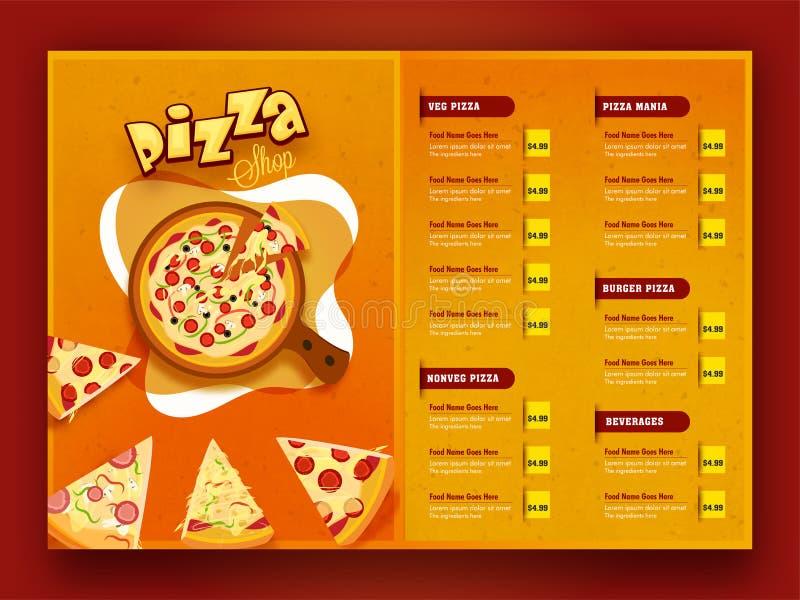 Pizzamatmeny för restaurang och kafé vektor illustrationer
