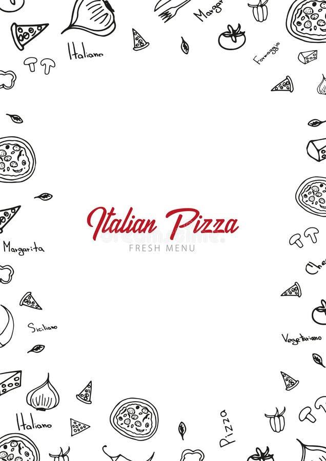 Pizzamatmeny för restaurang och kafé Designmall med hand-drog grafiska beståndsdelar i klotterstil också vektor för coreldrawillu stock illustrationer