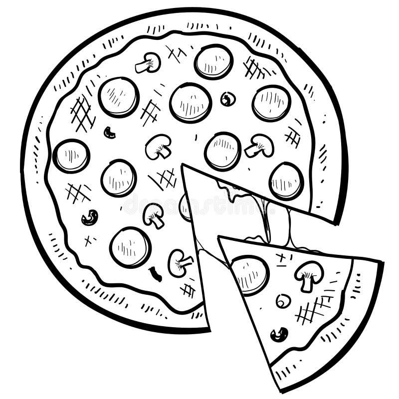Pizzamatvektor stock illustrationer