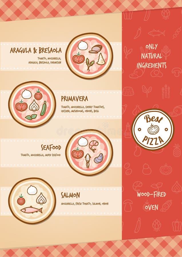 Pizzamenü lizenzfreie abbildung