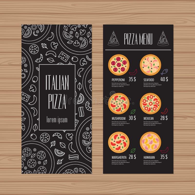Pizzamenüdesign Broschüren- und Fliegerplanschablone Restaurant lizenzfreie abbildung
