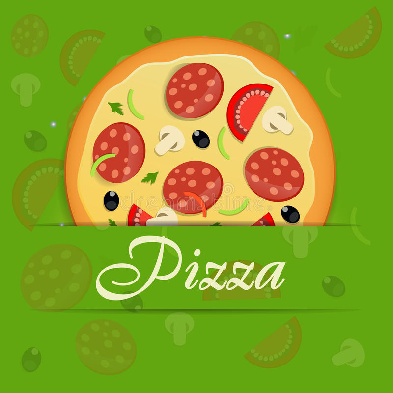 Pizzamenüschablonen-Vektorillustration lizenzfreie abbildung