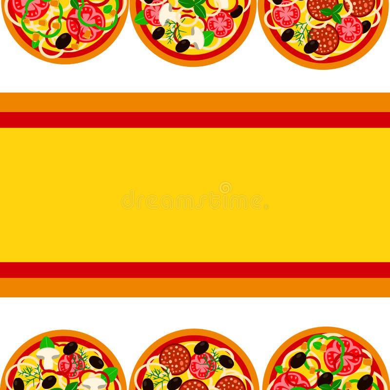 Pizzamenydesign Reklambladmall med olika variationer av pizza ocks? vektor f?r coreldrawillustration vektor illustrationer