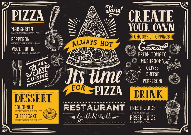 Pizzamenyrestaurang, matmall vektor illustrationer