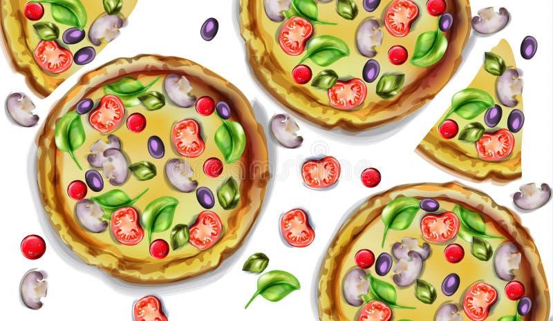 Pizzamuster-Vektoraquarell Köstliche Beschaffenheitsmenüschablonen stock abbildung