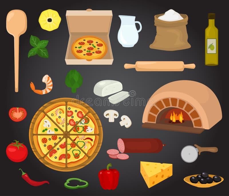 Pizzaoven italiensk mat för pizzavektorn med ost och tomaten i pizzeria eller pizzahouseillustrationuppsättningen av den bakade p stock illustrationer