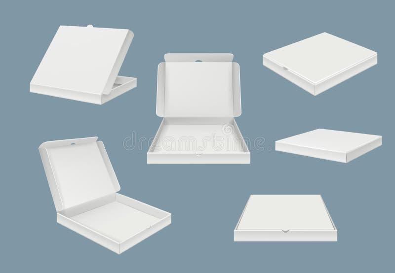 Pizzapaketmodell Schnellimbisslieferungspappe offen und geschlossener Kasten der realistischen Schablone des verschiedenen Ansich lizenzfreie abbildung