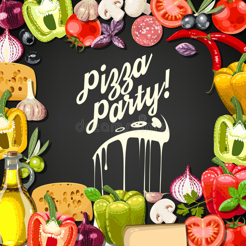 Pizzapartij royalty-vrije illustratie