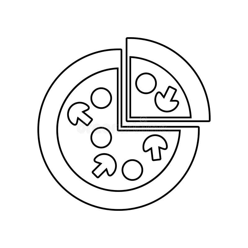 Pizzapictogram Element van het eten voor mobiel concept en webtoepassingenpictogram Overzicht, dun lijnpictogram voor websiteontw vector illustratie