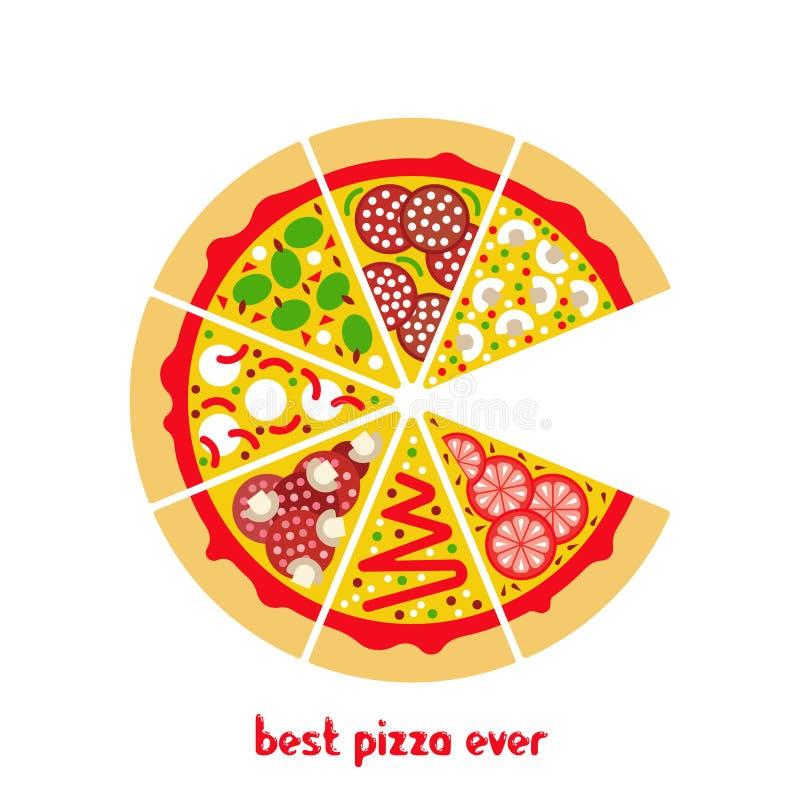 Pizzapictogram vlakke 2 stock illustratie