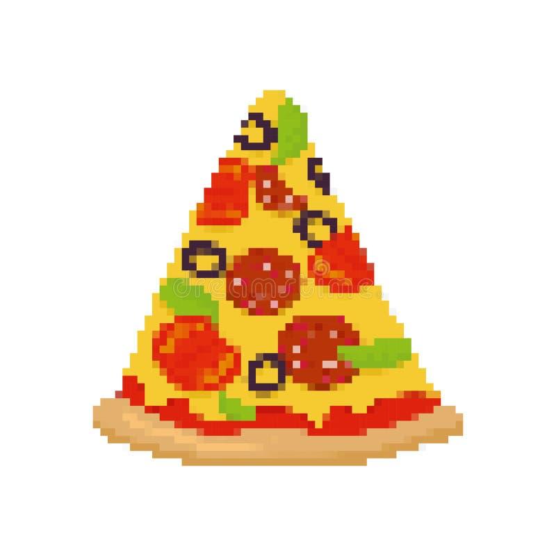 Pizzapixelkunst Stück Pizza pixelated Schnellimbiß getrennt lizenzfreie abbildung