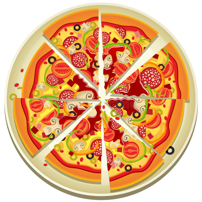 pizzaplattaskivor royaltyfri illustrationer
