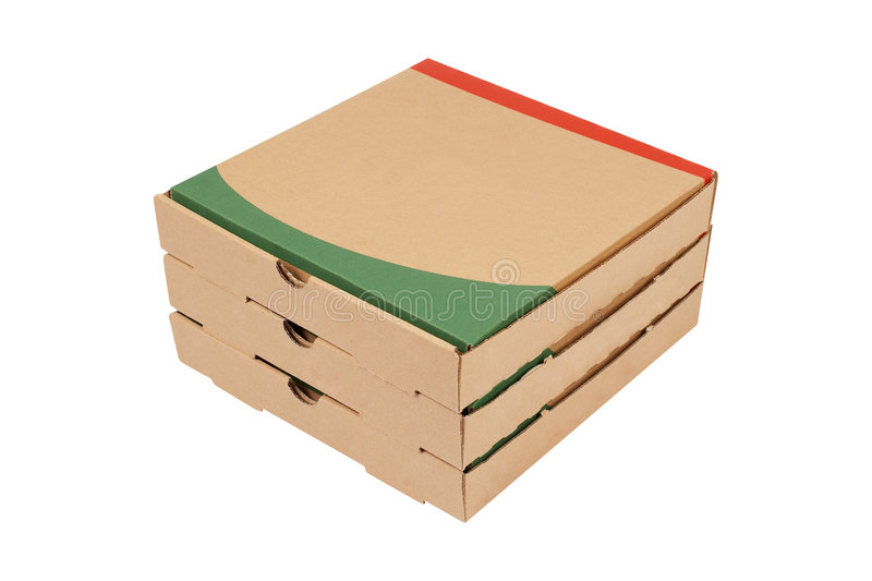 Pizzas boxes. Pizzas cardboard boxes isolated on white background royalty free stock photos