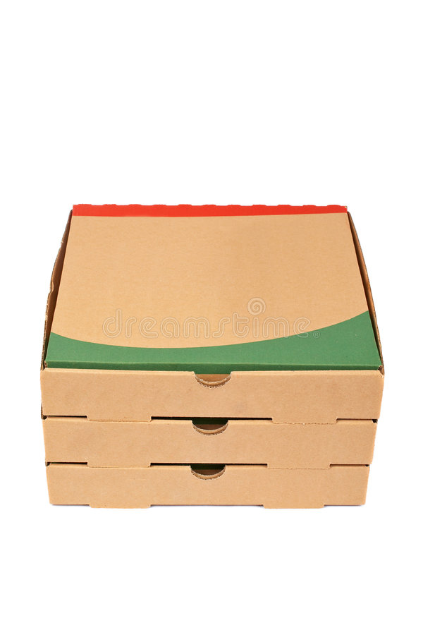 Pizzas boxes. Pizzas cardboard boxes with soft shadow on white background royalty free stock photos