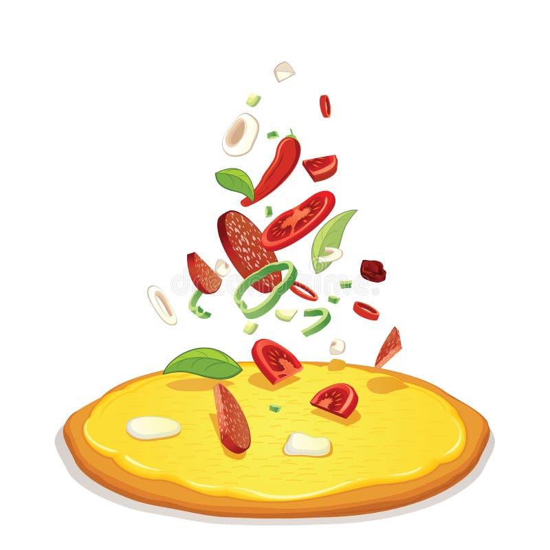 Pizzas d'ingrédients de pizza et ingrédient en baisse illustration stock