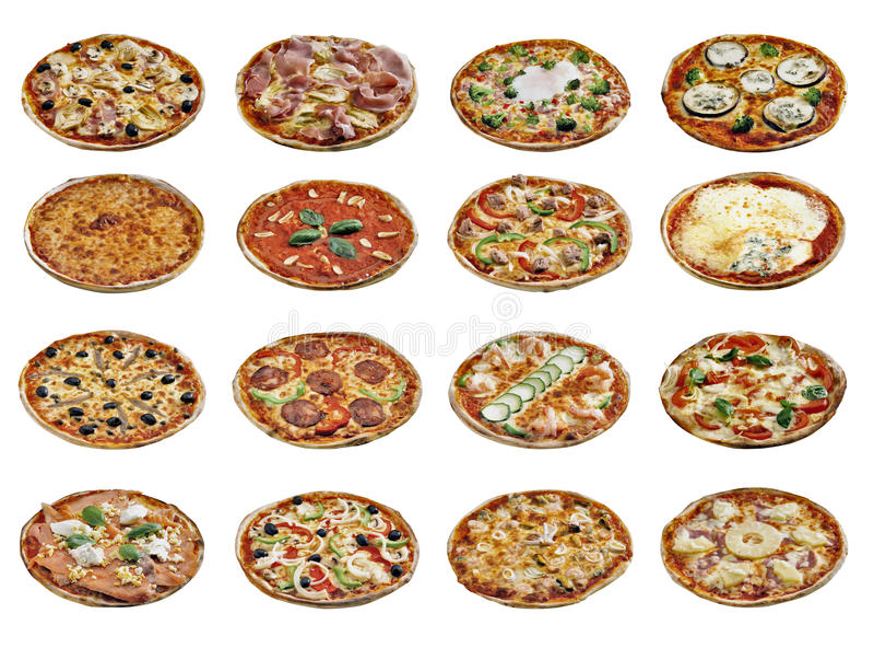 Pizzas diferentes isoladas no branco fotos de stock