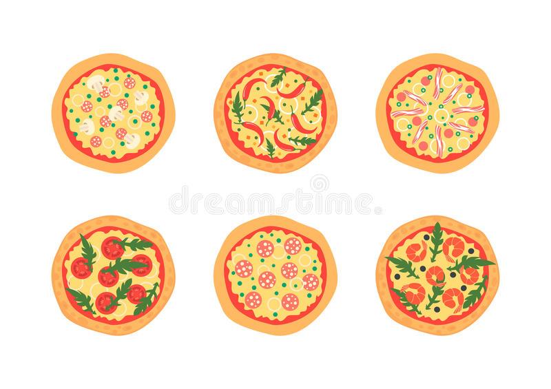 Pizzas with different toppings including Margherita, shrimp, bacon, onion, tomatoes. Top view. Vector illustration. stock illustration