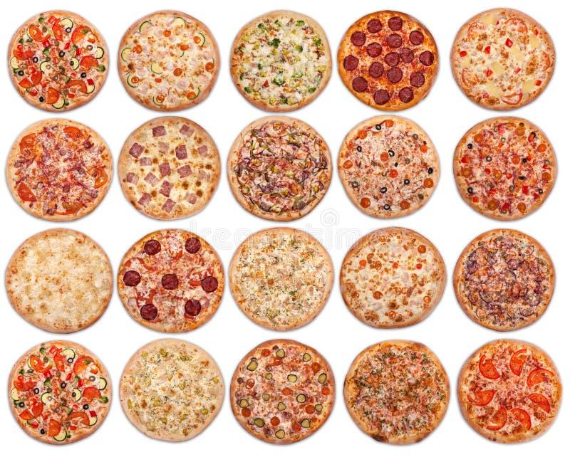 20 pizzas em um fundo branco Vista de acima fotos de stock royalty free