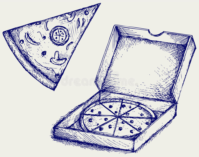 Pizzas. Estilo del garabato libre illustration