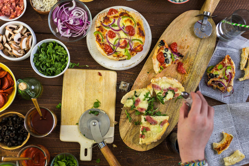 Pizzas pequenas imagens de stock royalty free