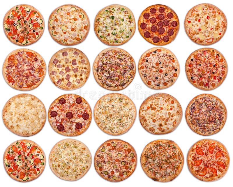 20 pizzas sur un fond blanc Vue de ci-avant photos libres de droits