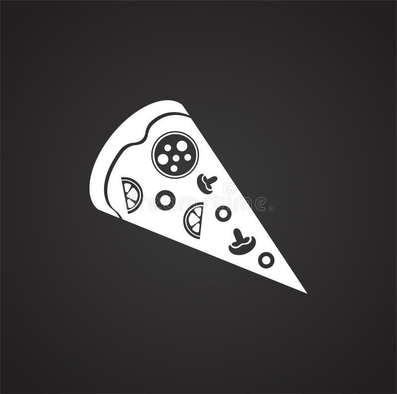 Pizzascheibe auf schwarzem Hintergrund stock abbildung
