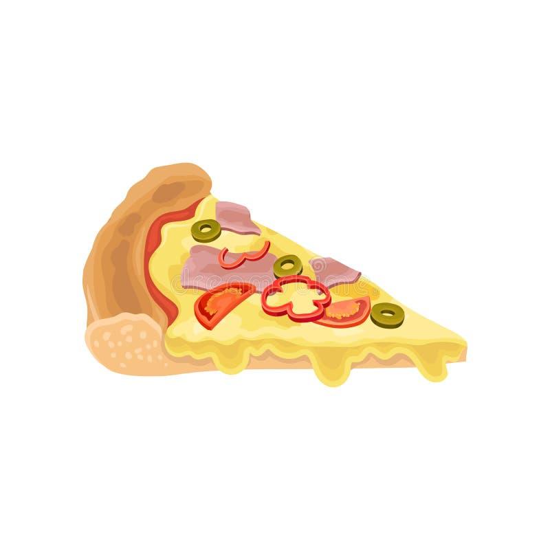 Pizzascheibe mit Schinken und flüssiger Käse, Oliven, roter Pfeffer und Tomaten Köstlicher Schnellimbiß Flaches Vektordesign für stock abbildung