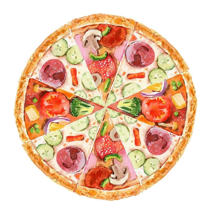 Pizzascheibe mit Tomate, K?se, Basilikum, Salami auf wei?em Hintergrund Draufsicht des Gekritzels Von Hand gezeichnete Men?illust stockfotos