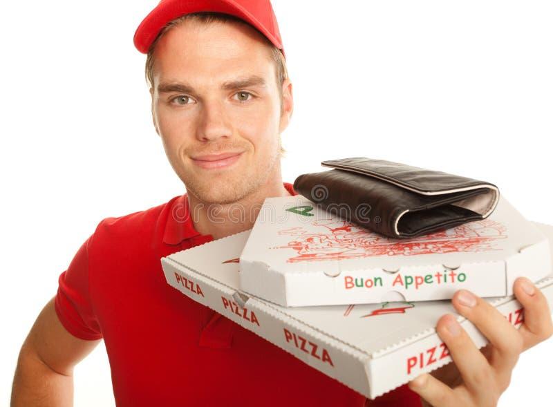 Pizzaservice stock afbeelding
