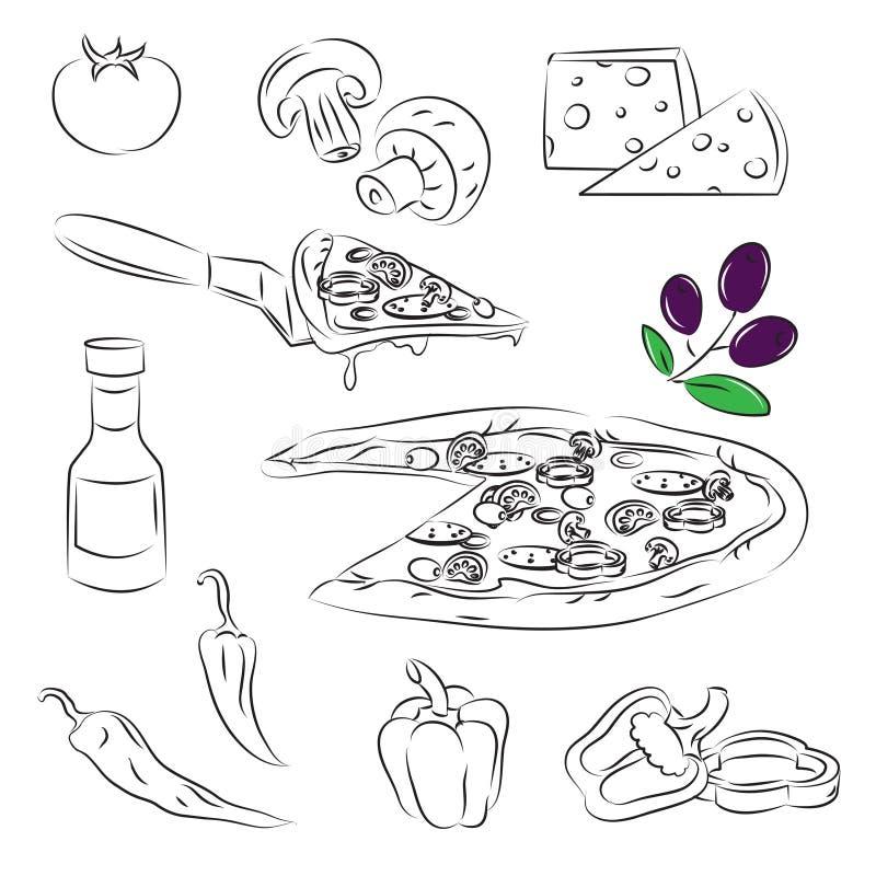 pizzaset vektor illustrationer