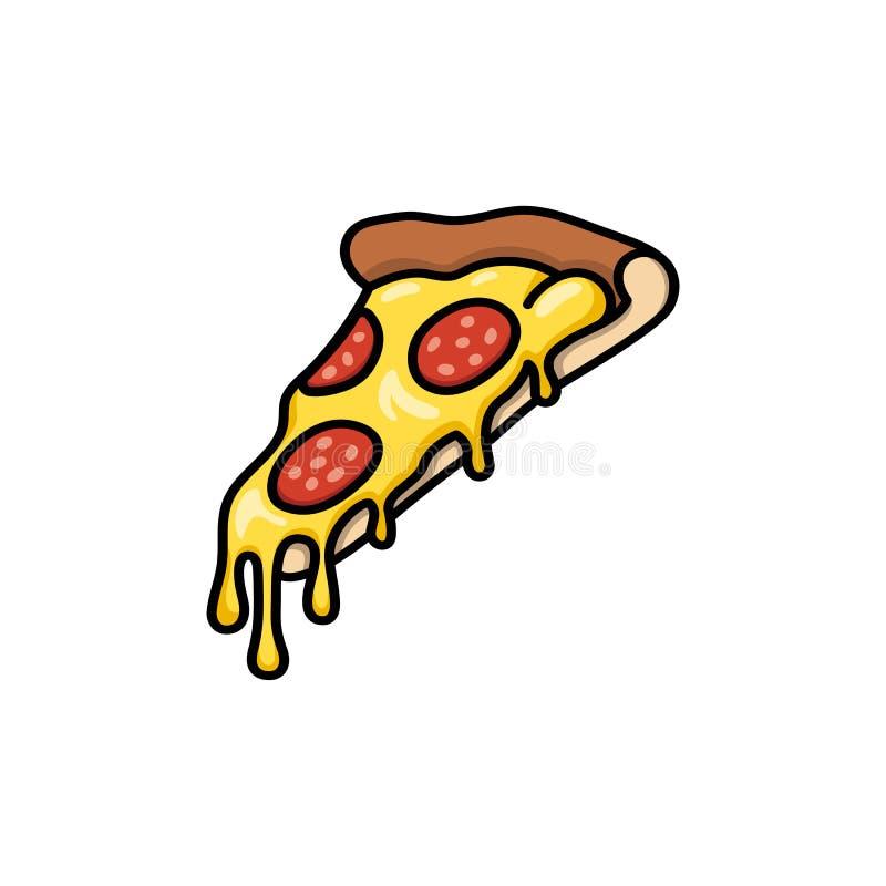 Pizzaskiva med den smältta ost- och salami- eller peperonitecknade filmen eller komikerillustrationen med översikten eller kontur stock illustrationer