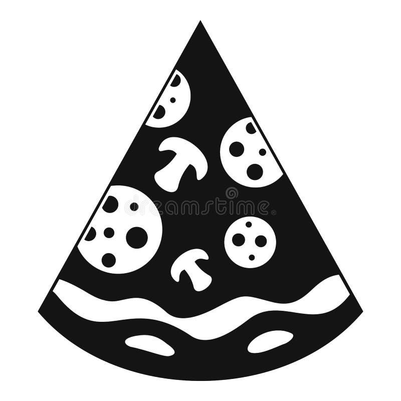 Pizzaskivasymbol, enkel svart stil royaltyfri illustrationer
