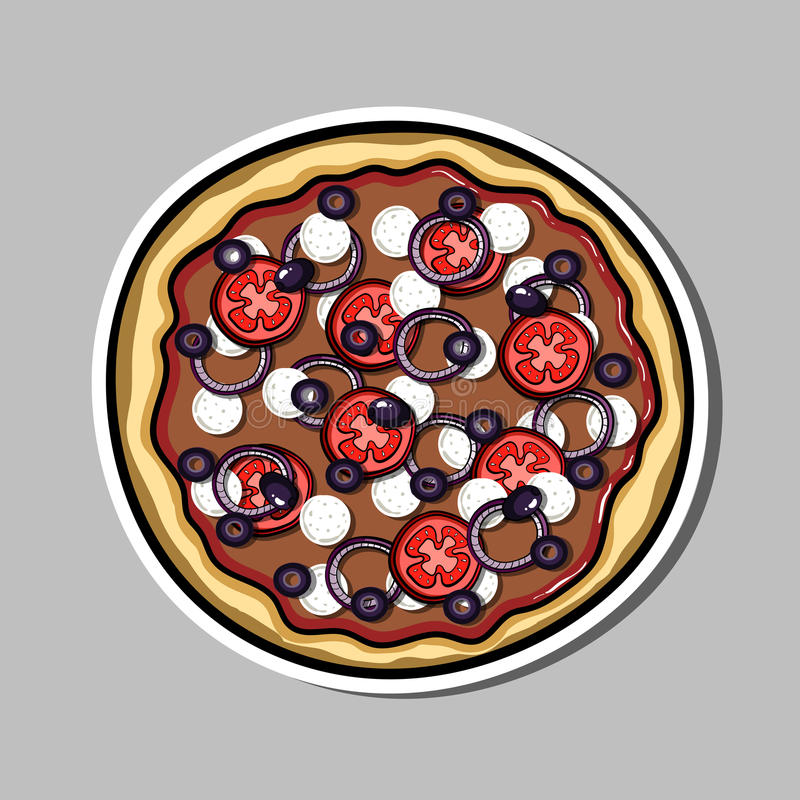 Pizzasticker 7 stock illustratie