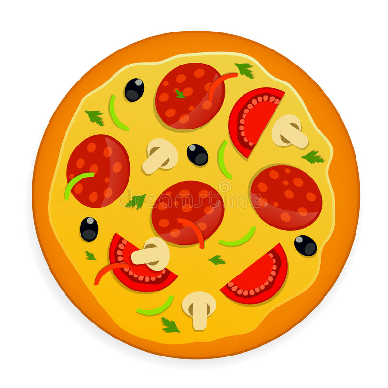 Pizzasymbol royaltyfri illustrationer