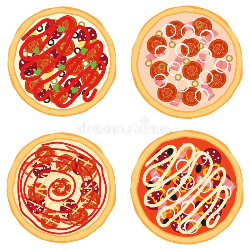Pizzasymbol vektor illustrationer