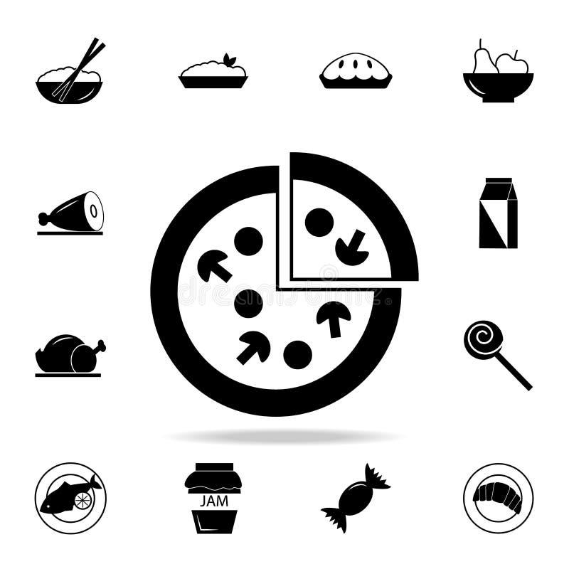 Pizzasymbol Detaljerad uppsättning av mat- och drinksymboler Högvärdig kvalitets- grafisk design En av samlingssymbolerna för web royaltyfri illustrationer