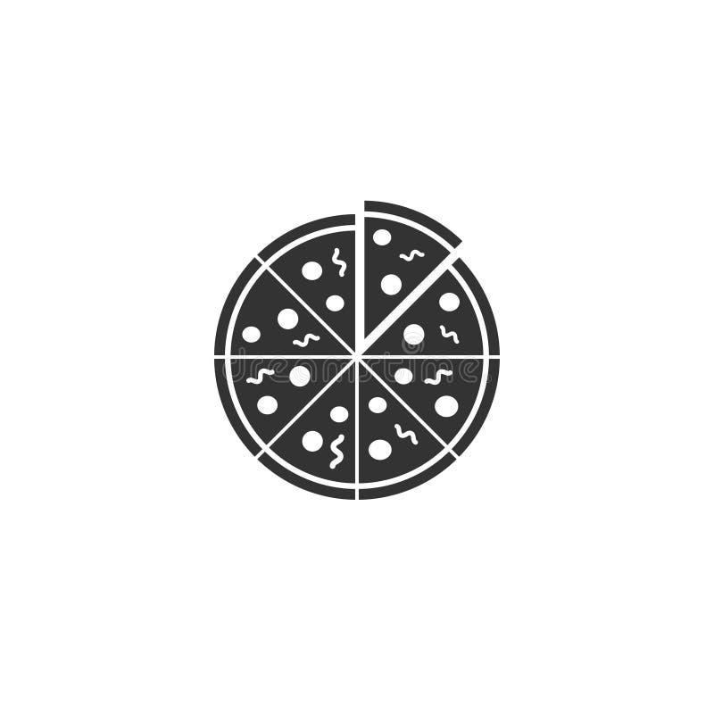 Pizzasymbol i enkel design ocks? vektor f?r coreldrawillustration vektor illustrationer